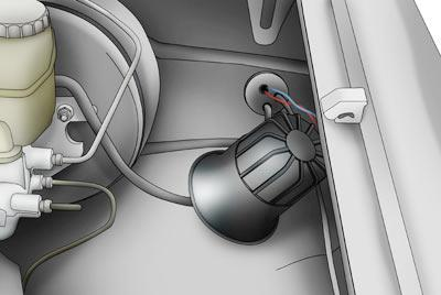 Mount the siren in your engine compartment and route the wire back through your firewall.