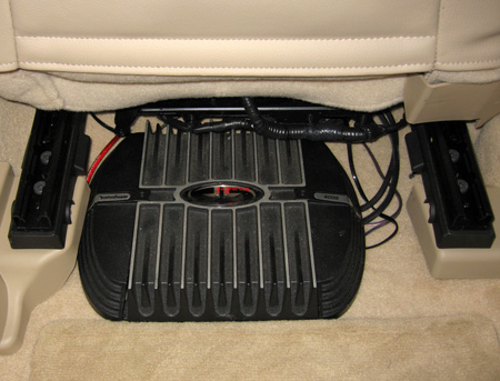 Rockford Fosgate Punch 400S amp under the passenger front seat.
