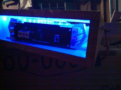 side view of one of the boxes with lights
