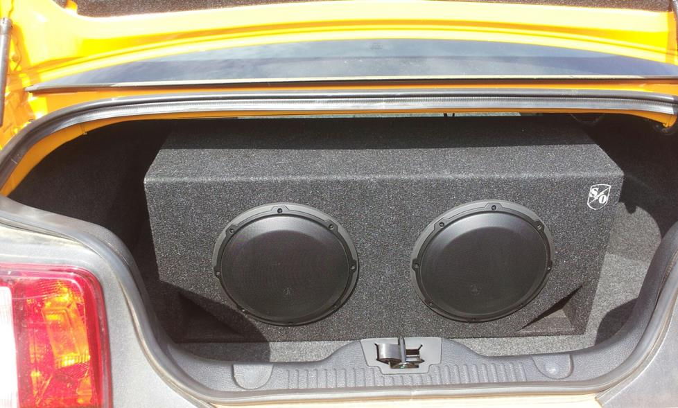james g's 2012 ford mustang  -  JL Audio 10W3v3-4 subwoofers and sound ordnance bass bunker enclosure