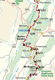 Ken's trip Apppalachian Trail hike map