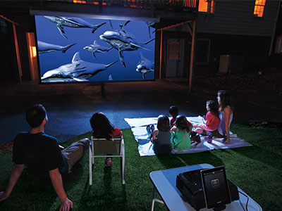 Backyard projector, screen and outdoor speakers