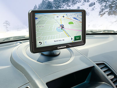 Portable, mounted GPS navigator on dash
