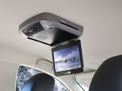After-market DVD player in car's ceiling