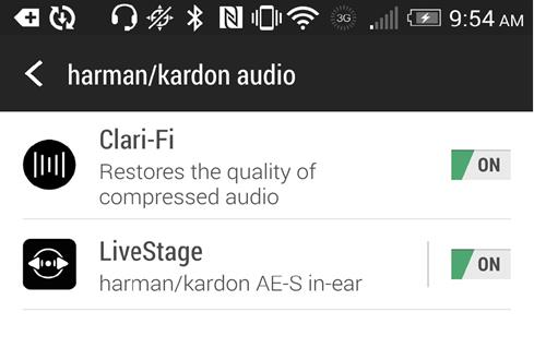 Screenshot of the Harman/Kardon screen in the settings menu of the HTC One (M8)