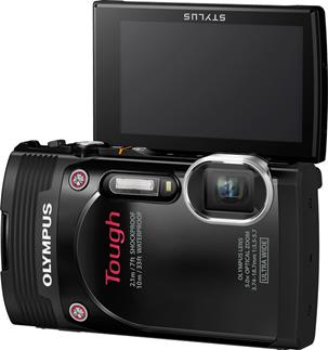 The Olympus TG-850 with tilting viewscreen turned 180 degrees.