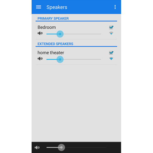 Select speaker in the Phorus Play-Fi app