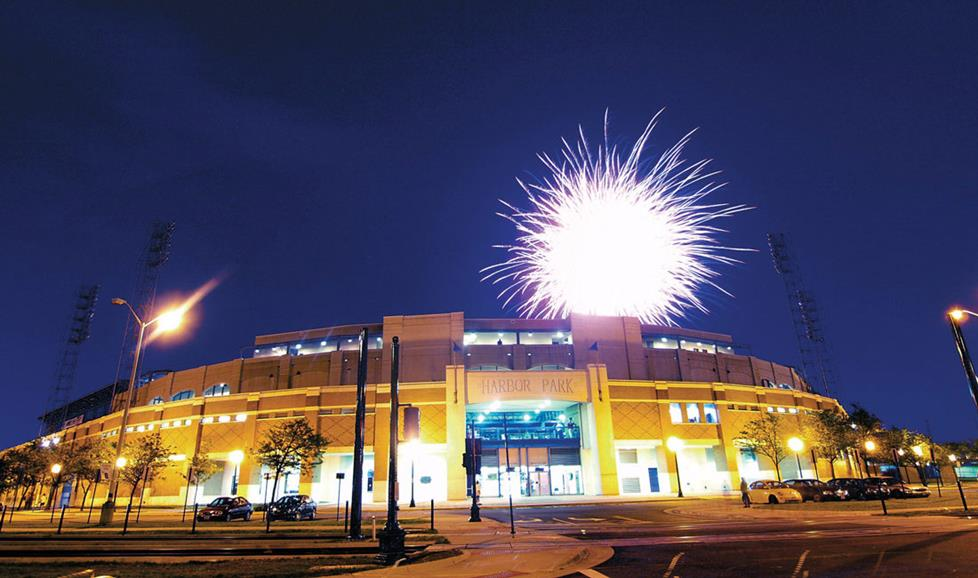 A fireworks show over Harbor Park