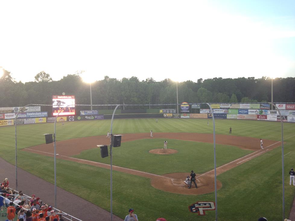 A view of the Potomac Nationals in action from the pressbox level.