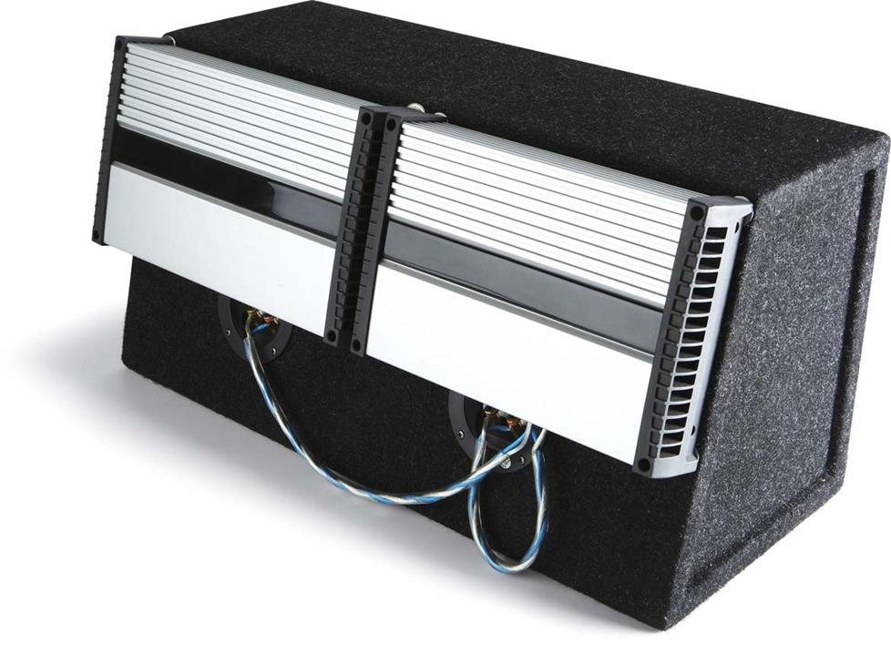 Two amps mounted on a subwoofer box