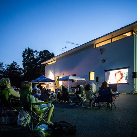 >Movie night at our headquarters.