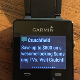 Garmin vivoactive notification screen