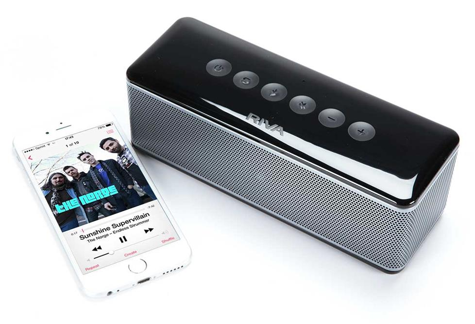 RIVA S portable Bluetooth speaker shown with an iPhone