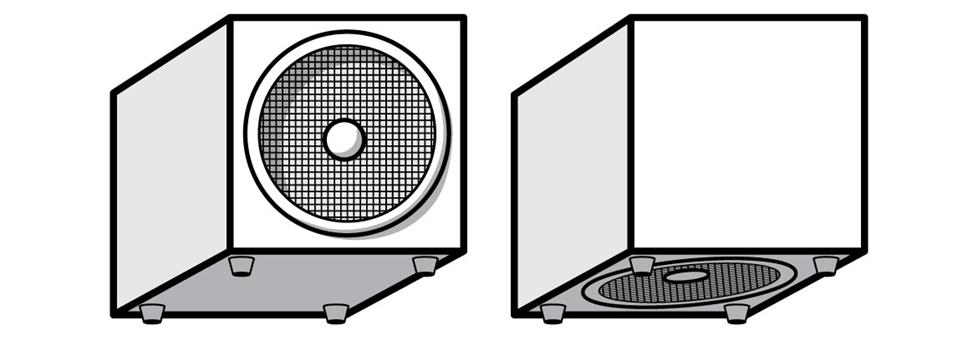 Front versus downward-facing subwoofer.