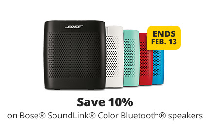 Save 10% on Bose® Soundlink® Bluetooth® portable speakers. Ends 2/13
