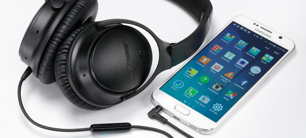 Android phone with headphones.