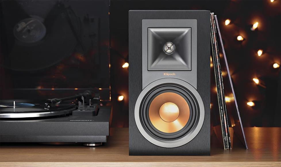 klipsch powered speakers. klipsch reference r-15pm powered bookshelf speakers with bluetooth® and built-in phono