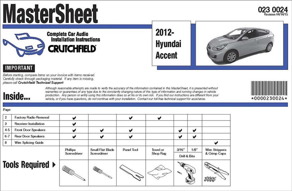 Crutchfield MasterSheet instructions