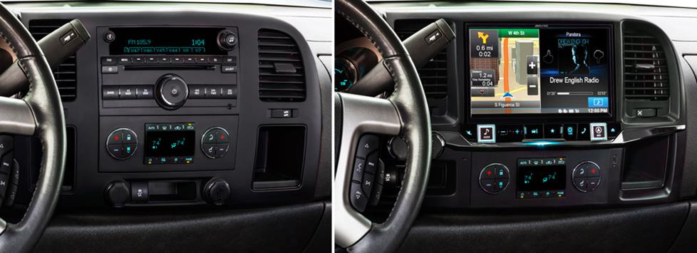 Alpine X009-GM Restyle System in a GM truck (before and after)
