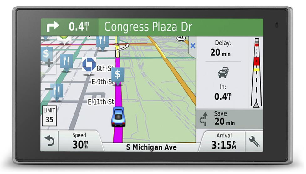 The Garmin DriveLuxe 50LMTHD portable navigator with Garmin HD Digital Traffic