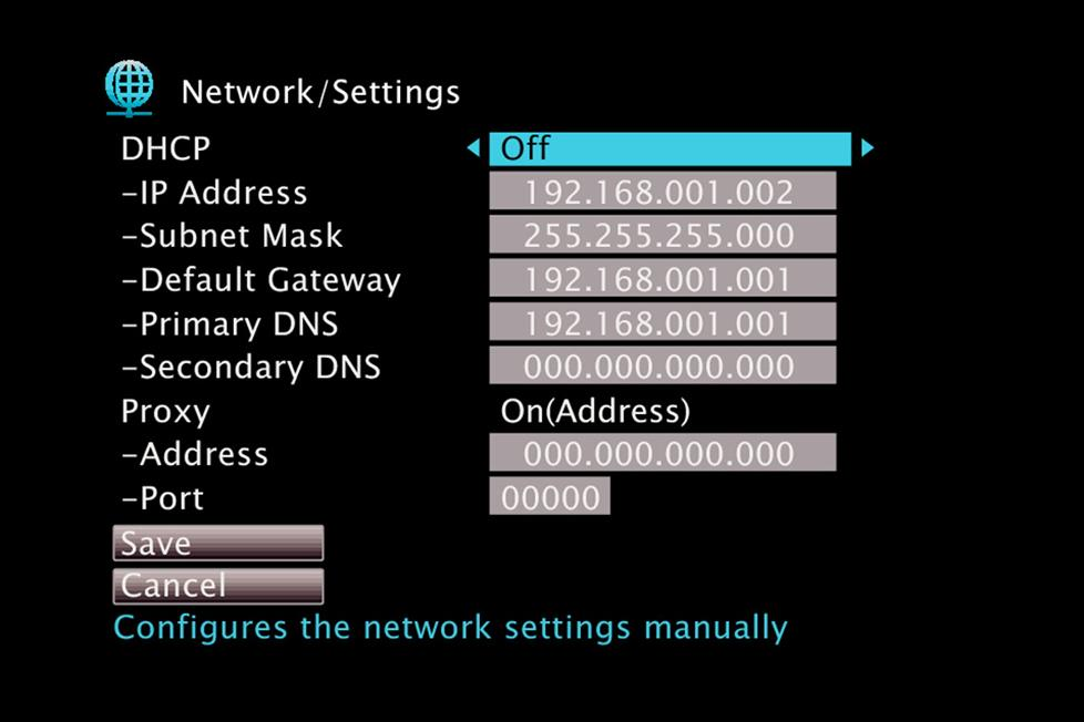 Network setup screen shot