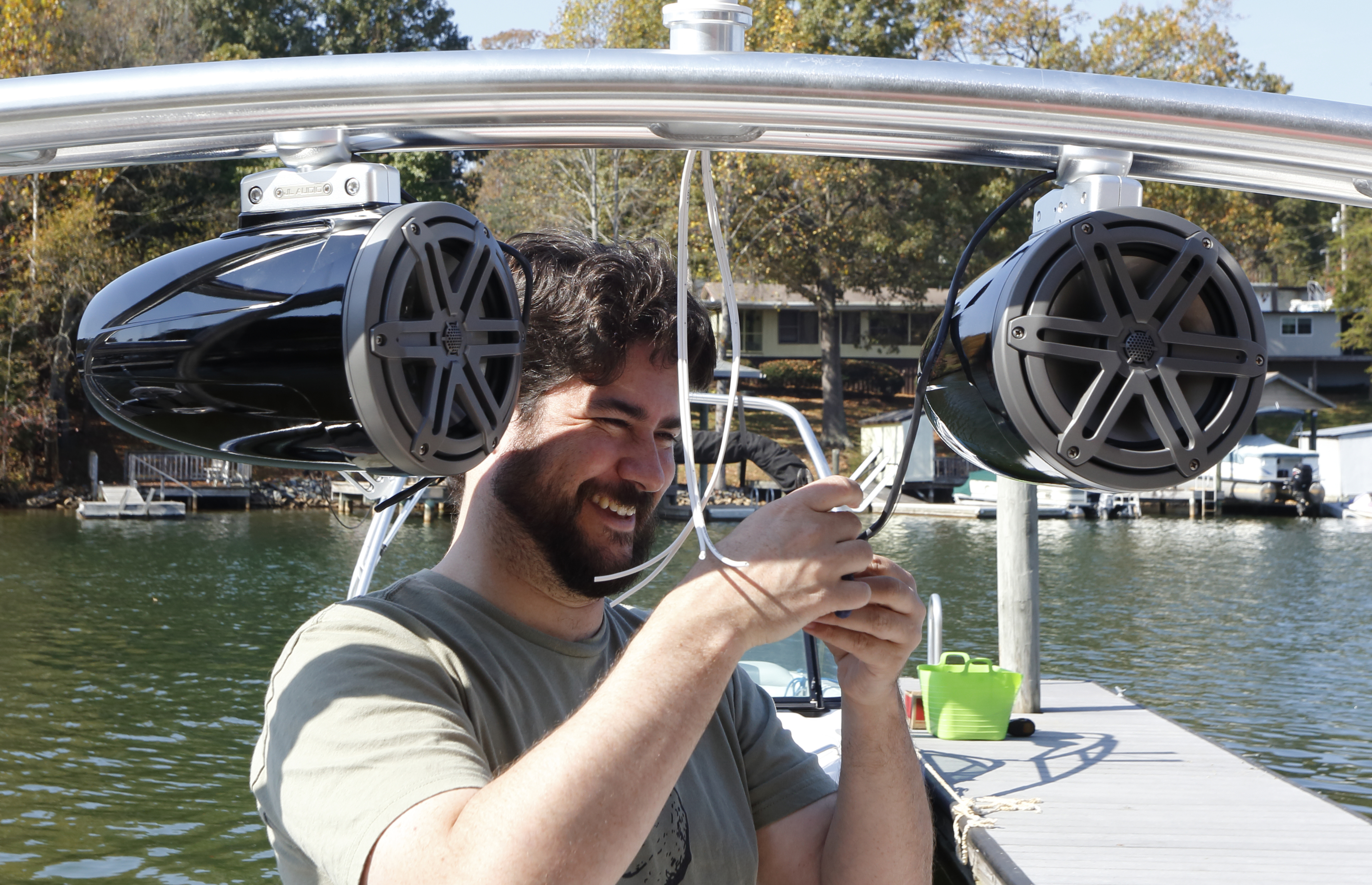 tips for installing tower speakers on a boat wiring tower speakers closeup jpg