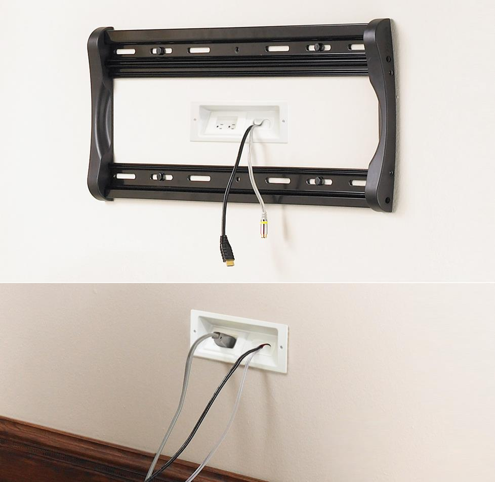 These plates are part of a kit that hides both signal and power connections  for a wall-mounted TV.