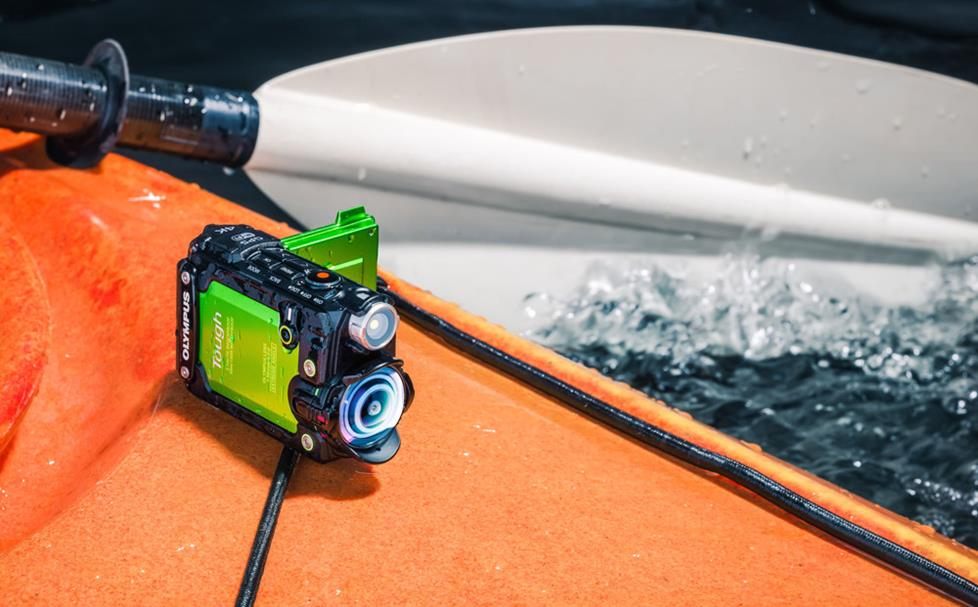 Olympus TG Tracker mounted on a kayak