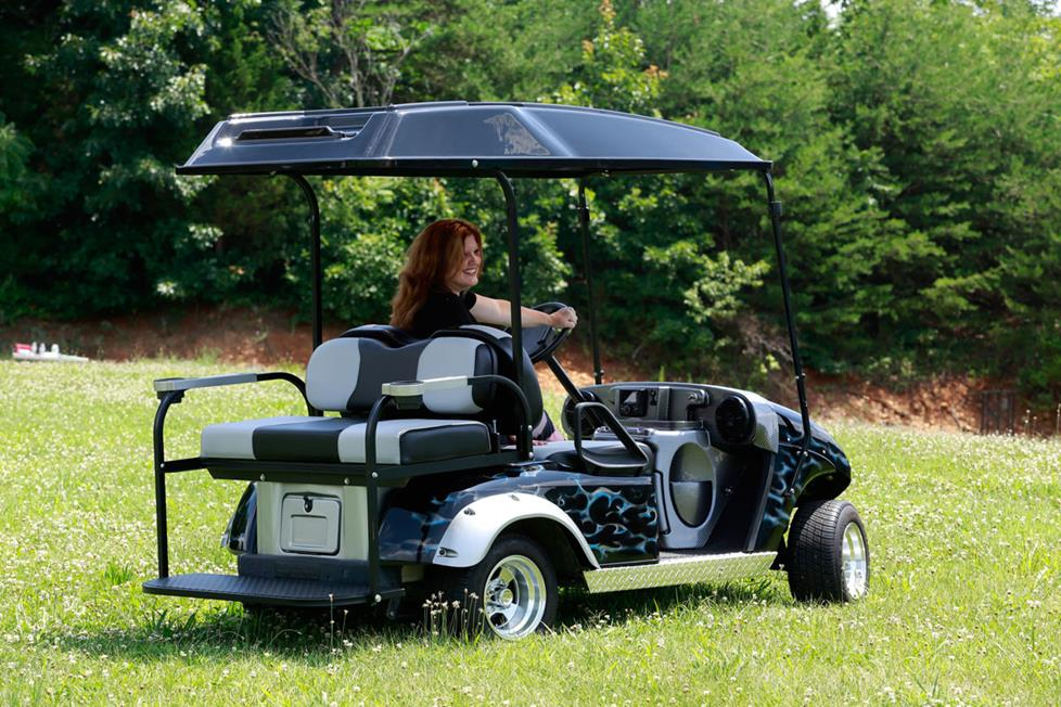Custom-fit Golf Cart Stereo Systems for Select Club Car and E-Z-Go on radio install golf cart roof, club car roof, ezgo marathon roof, ezgo extended roof, golf cart extended roof, yamaha golf cart roof, custom golf cart roof, universal golf cart roof, 80-inch golf cart roof, rhino golf cart roof,