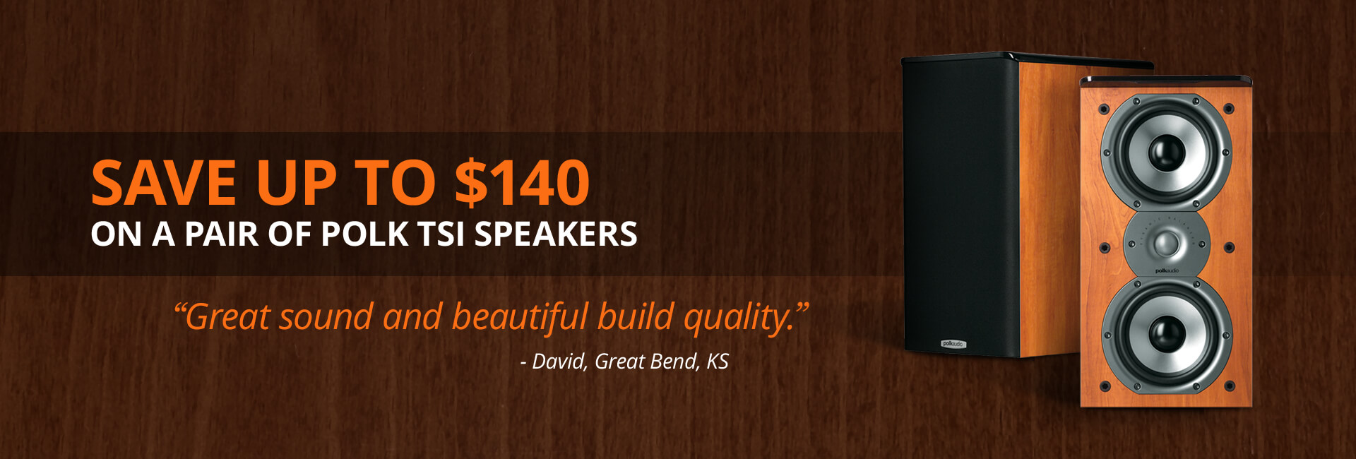 Save up to $140 on a pair of Polk Tsi speakers
