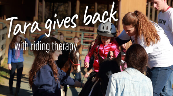 Tara gives back with her riding therapy