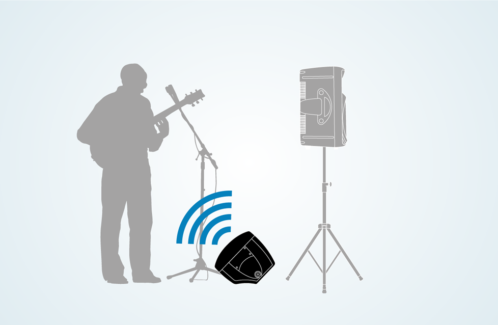 Illustration of a monitor speaker aimed at musician