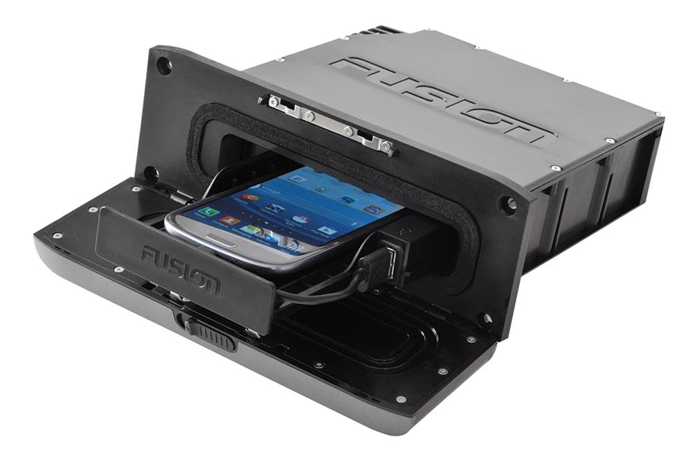 Fusion receiver with hide-away space for smart phone