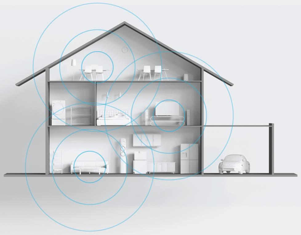 Illustration of home blanketed in wifi.