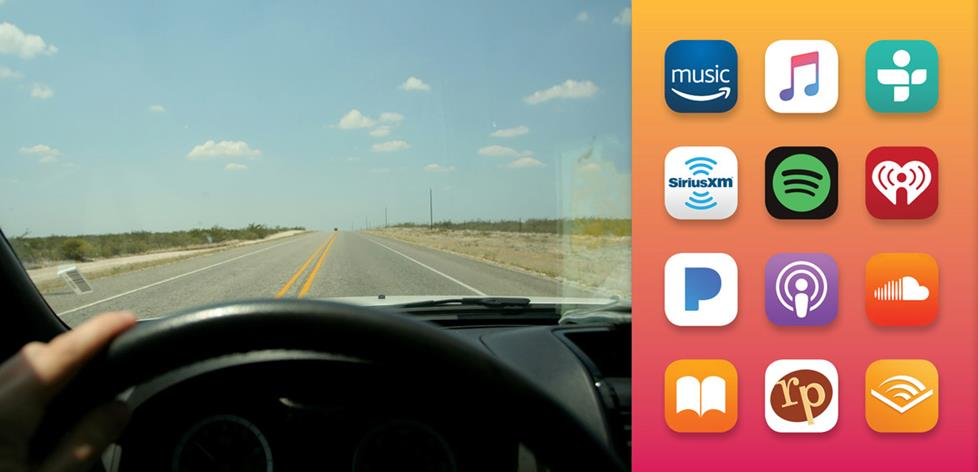 driving a car from driver's POV, and several audio streaming app icons.