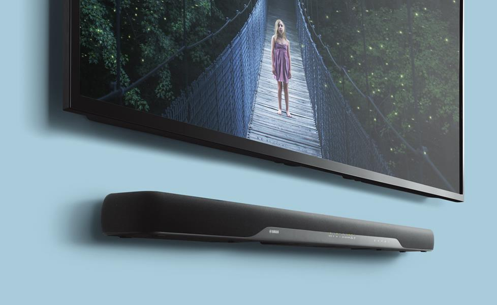 Yamaha YAS-207 soundbar with wall-mounted TV