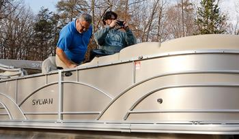 A pontoon boat gets a serious stereo upgrade