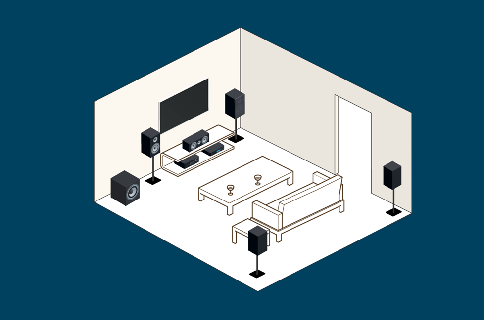Illustration of small room with bookshelf speakers