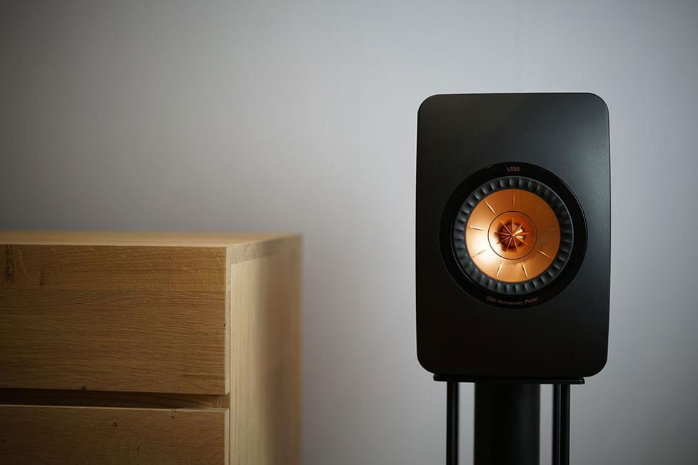 KEF LS50 speaker on stand