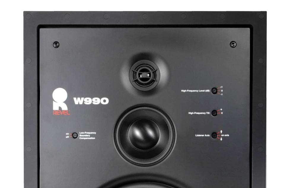 Top section of a speaker with tone controls.