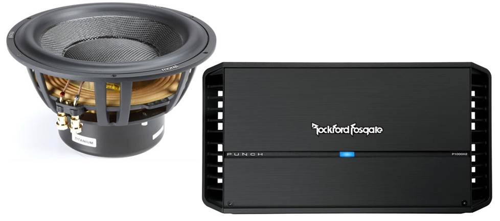 Morel Ultimio Titanium sub and Rockford Fosgate Punch amp