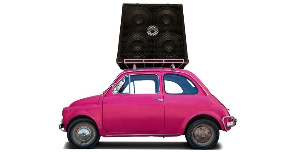 ridiculously big bass in a small car