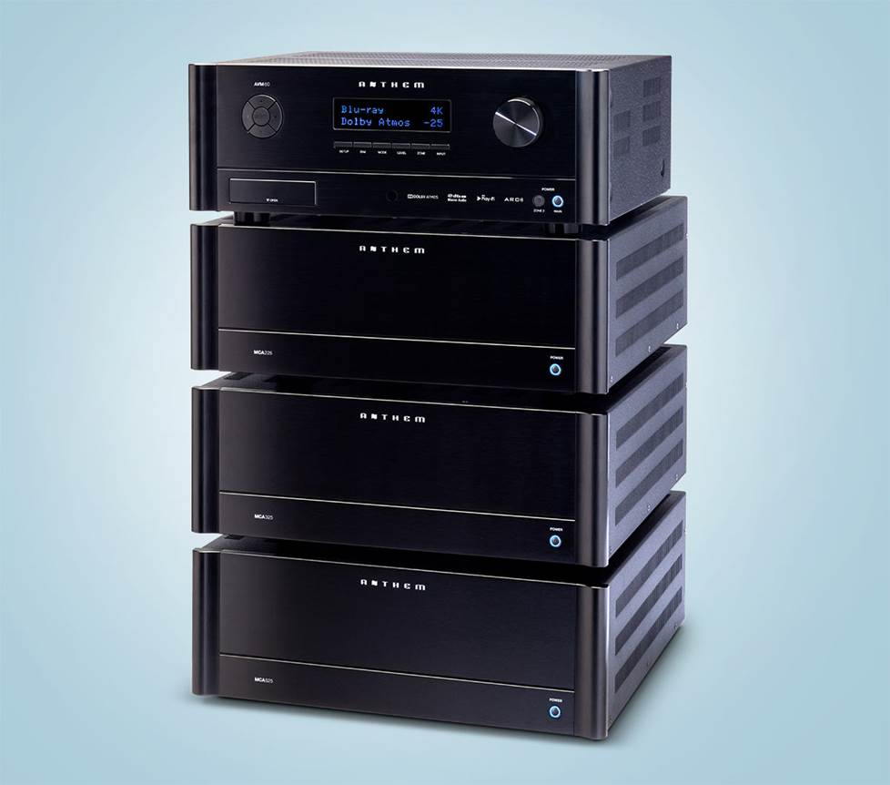 stack of Anthem Audio home theater components