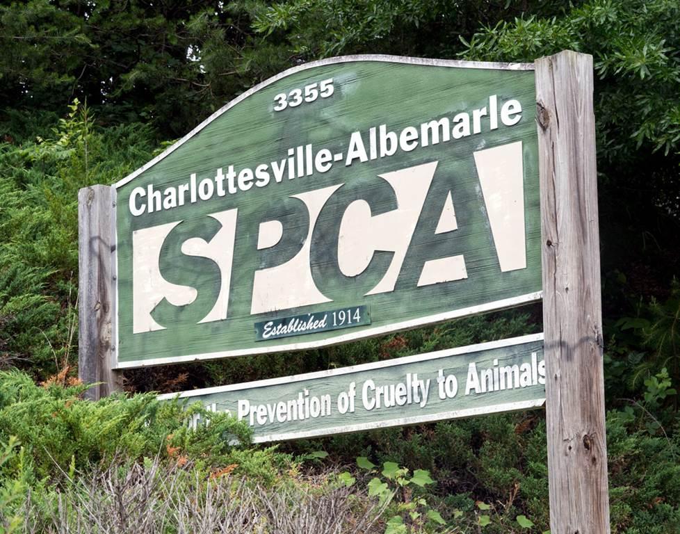 Charlottesville SPCA sign.