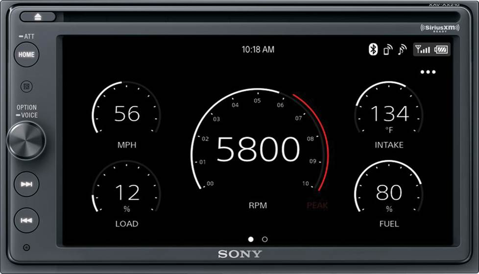 Sony XAV-AX210SXM DVD receiver with iDatalink performance gauges