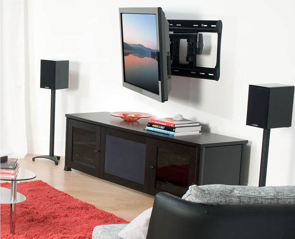 A full-motion wall mount in action.