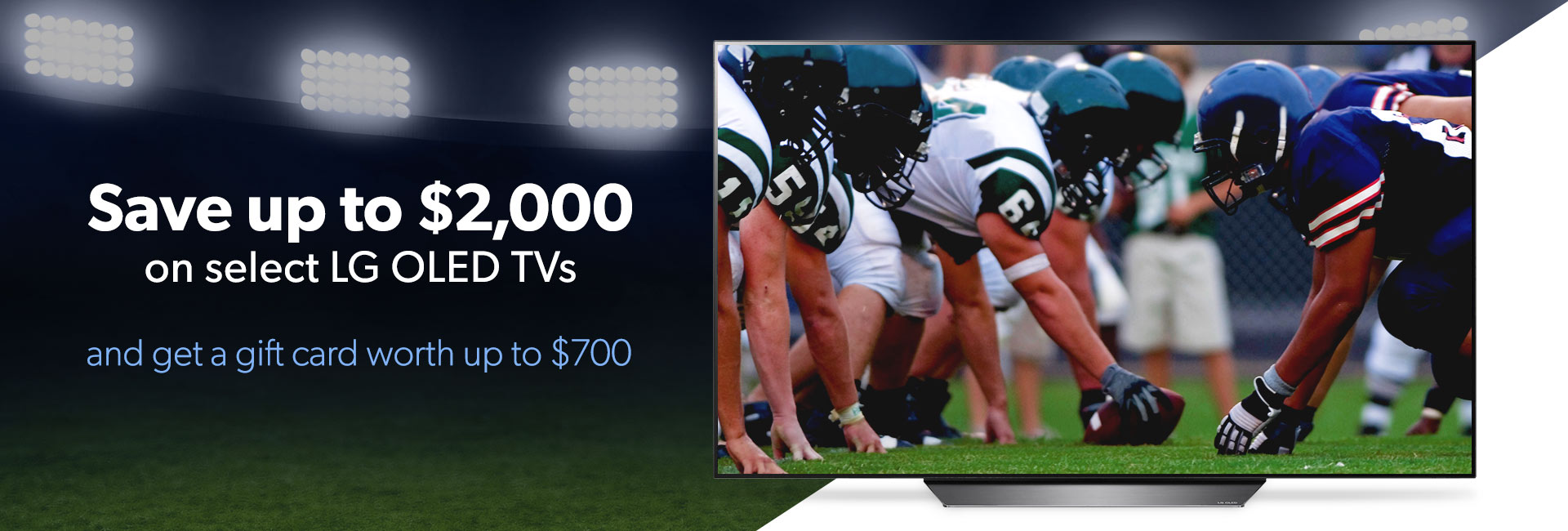 Save up to $2,000 on select LG OLED TVs and get a gift card worth up to $700