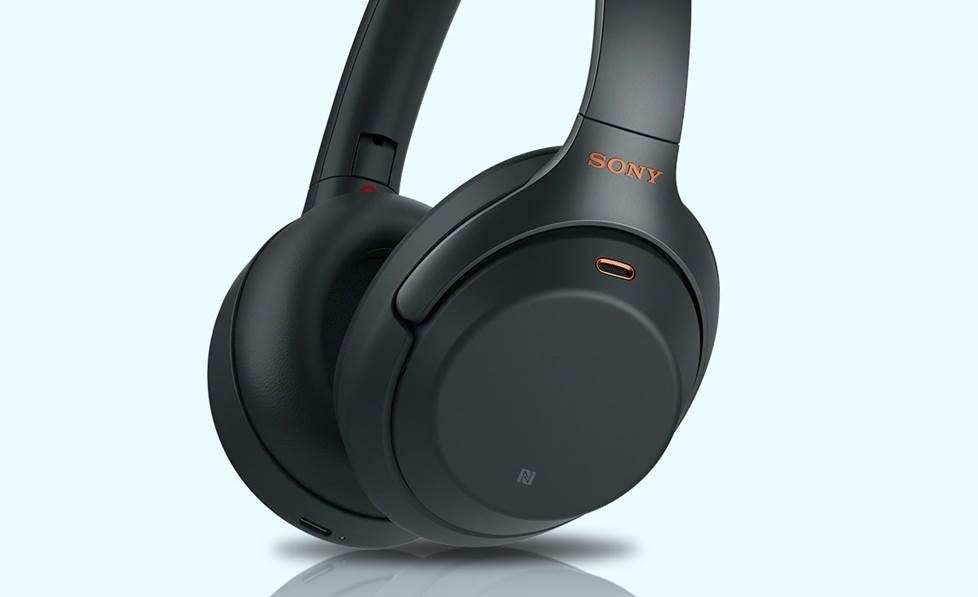 Close-up of Sony wireless headphones