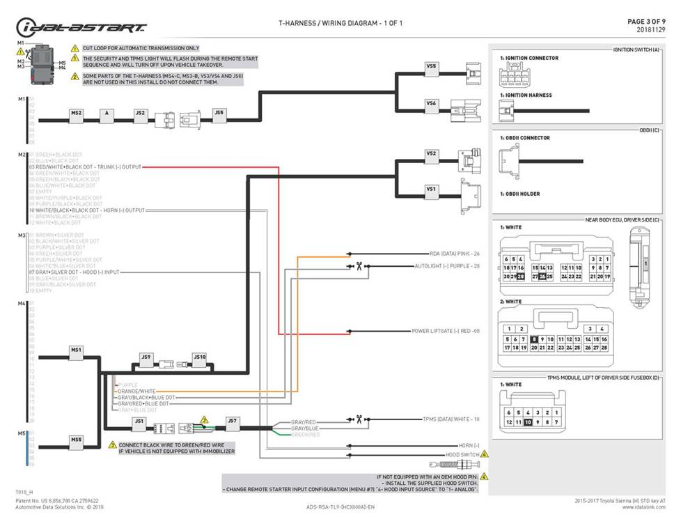The iDatastart wiring diagram