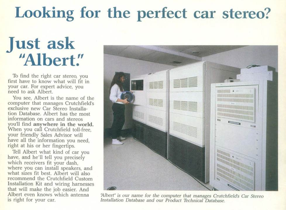 Albert, Crutchfield's first vehicle-fit database computer